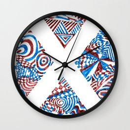 Letter X, Blue/Red Abstract (Ink Drawing) Wall Clock