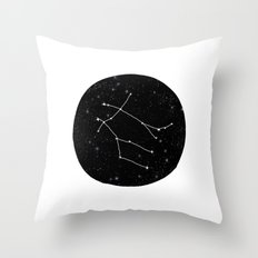 Gemini zodiac constellations astrology star gazer black and white minimalist Throw Pillow