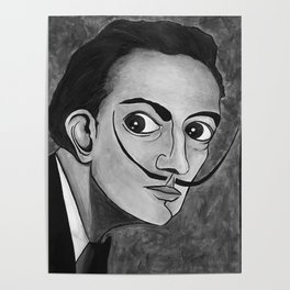 Salvador Dalí black and white portrait Poster