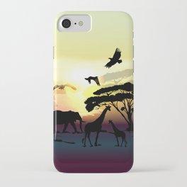 Savanna landscape with animals. African illustration iPhone Case