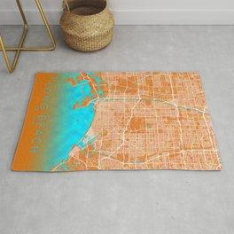 Long Beach, CA, USA, Gold, Blue, City, Map Rug