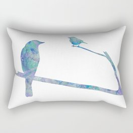 Birds On Branch Watercolor Painting Rectangular Pillow