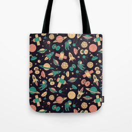 Retro Space Pattern Tote Bag
