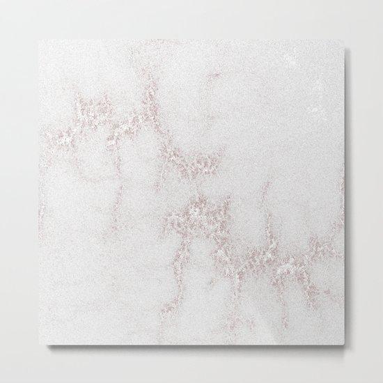 Marble Pattern Silver Rosé Metal Print