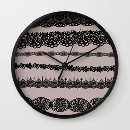 Black and white lace print Wall Clock