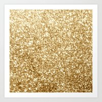 gold glitter Art Prints featuring Gold glitter by Masanori Kai