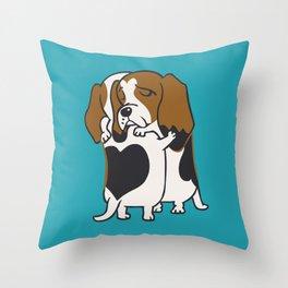 Basset Hound Hugs Throw Pillow