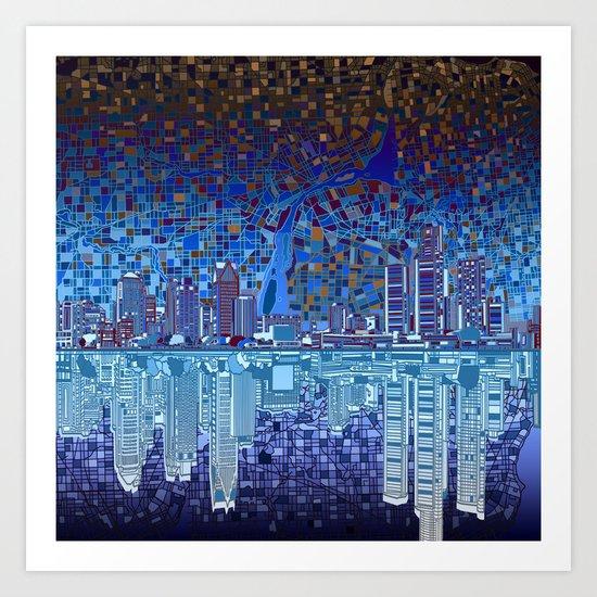 detroit city skyline Art Print