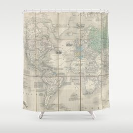 Vintage Map of The World (1857) 2 Shower Curtain