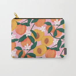 Summer Peaches on Pink Carry-All Pouch