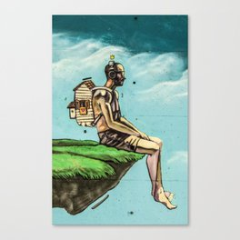 Man on the rock 5 Canvas Print