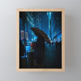 Girl with an Umbrella Waiting on the Road at Night Framed Mini Art Print