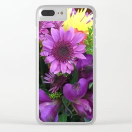 Bouquet of flowers in purple Clear iPhone Case