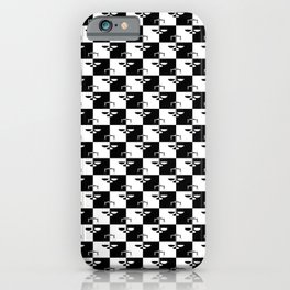 Black and White Checkerboard Scales of Justice Legal Pattern iPhone Case