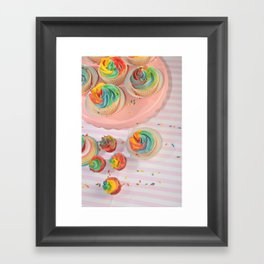 rainbow cupcakes Framed Art Print
