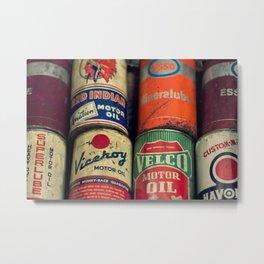 Vintage Oil Cans Metal Print