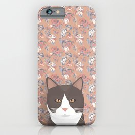 Gray Tuxedo Cat and Flowers iPhone Case