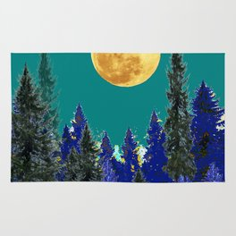 BLUE FOREST TEAL SKY MOON LANDSCAPE ART Rug