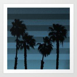 palmeras en azul Art Print
