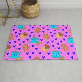 Lovely sweet gingerbread men cookies, chocolate, cups of hot cocoa, hearts pink girly winter pattern Rug