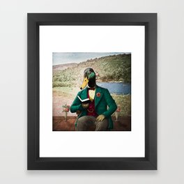 Monsieur Mallard Reading an Improving Book Framed Art Print