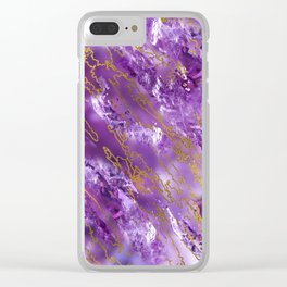 Amethyst Quartz and gold texture Clear iPhone Case