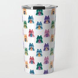 racoon with coffee pattern Travel Mug