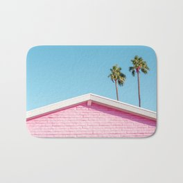 Pink House Roofline with Palm Trees (Palm Springs) Bath Mat