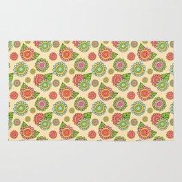 Colorful doodle flowers - Spring Pattern Rug