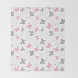 Pink Gray Butterfly Throw Blanket