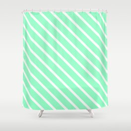 Mint Julep #2 Diagonal Stripes Shower Curtain