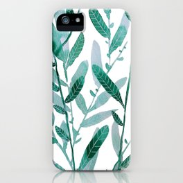 greeen water color leaves iPhone Case