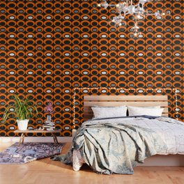 Retro Ovals Print - Orange, Black, Gray and White Wallpaper