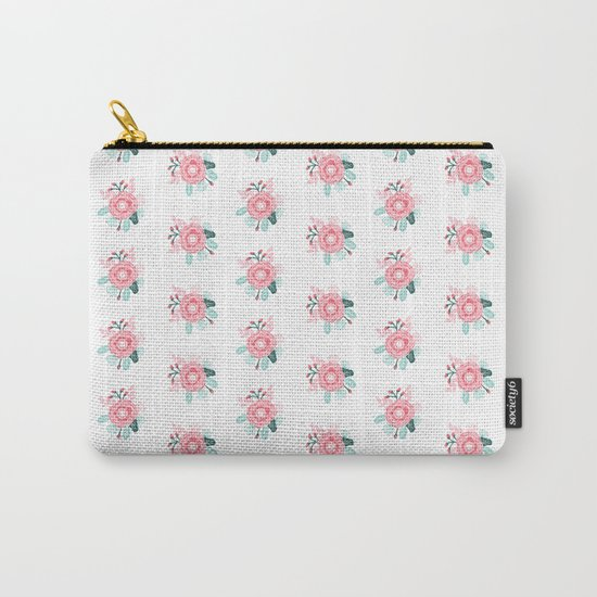 Florals boho modern watercolor blooming blossom garden nature summer spring navy pink white Carry-All Pouch