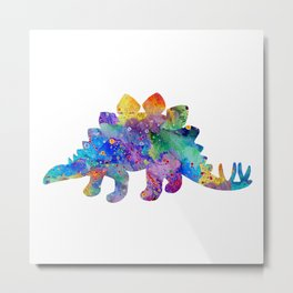 Stegosaurus Dinosaur Art Watercolor Pint Wild Animals Nursery Decor Kids Room Colorful Art Poster Metal Print