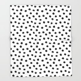 Polka Dots Black and White Throw Blanket