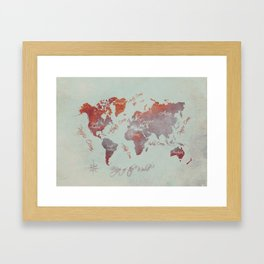 world map 142 red grey #worldmap #map Framed Art Print