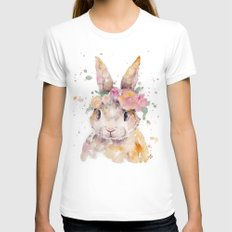Little Bunny LARGE White Womens Fitted Tee