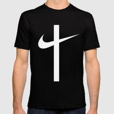 Swoosh Cross (... And Deliver Us From Evil) / White Mens Fitted Tee Black MEDIUM