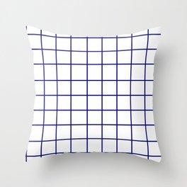 Grid (Navy Blue/White) Throw Pillow