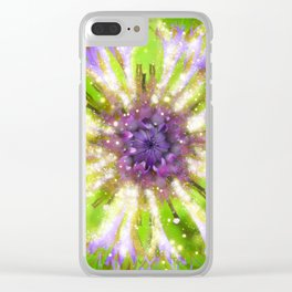 Purple Green Abstract Flower Clear iPhone Case