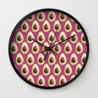 avocado Wall Clocks featuring Avocado by SandraSuarez