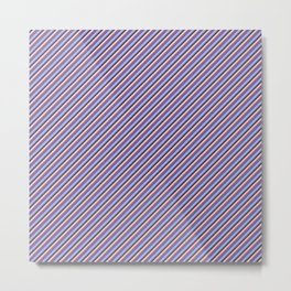Light Lilac Blue Inclined Stripes Metal Print