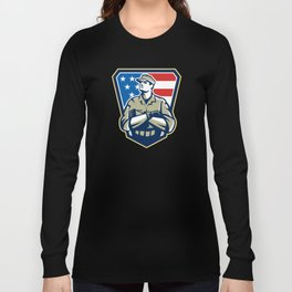 American Soldier Arms Folded Flag Retro Long Sleeve T-shirt
