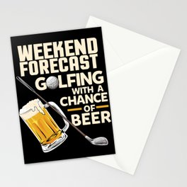Weekend Forecast Golfing With a Chance Of Beer Stationery Cards