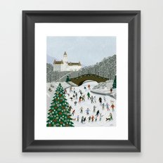 Ice skating pond Framed Art Print