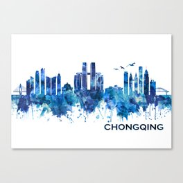 Chongqing China Skyline Blue Canvas Print