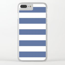 UCLA blue - solid color - white stripes pattern Clear iPhone Case
