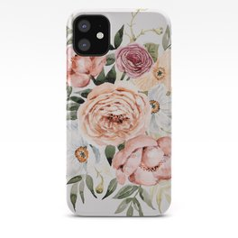 Muted Peonies and Poppies iPhone Case