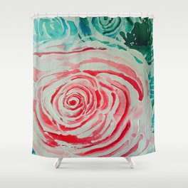 Where the Pink Roses Grow, Summer is Ending and Romantic Fall Nights are Here Shower Curtain